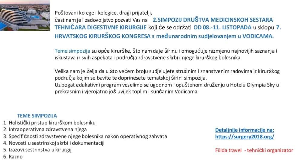 2. SIMPOZIJ DRUŠTVA MEDICINSKIH SESTARA I TEHNIČARA DIGESTIVNE KIRURGIJE Vodice, 08.-11. listopada 2018. godine