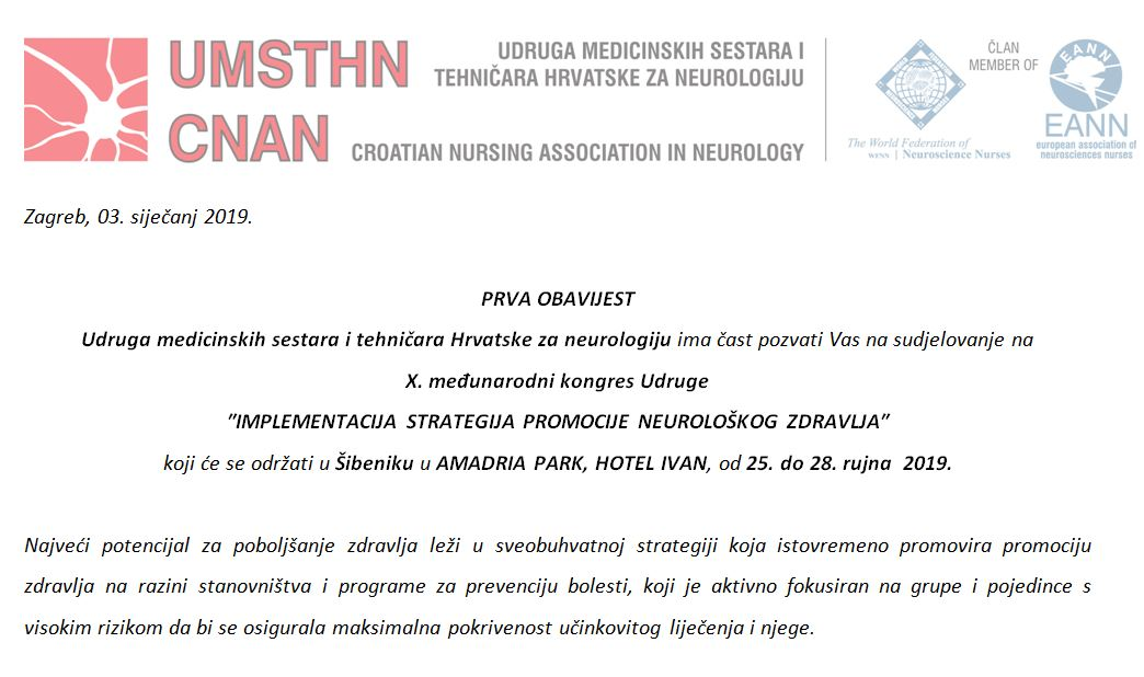 """X. međunarodni kongres Udruge medicinskih sestara i tehničara Hrvatske za neurologiju """"IMPLEMENTACIJA STRATEGIJA PROMOCIJE NEUROLOŠKOG ZDRAVLJA"""""""